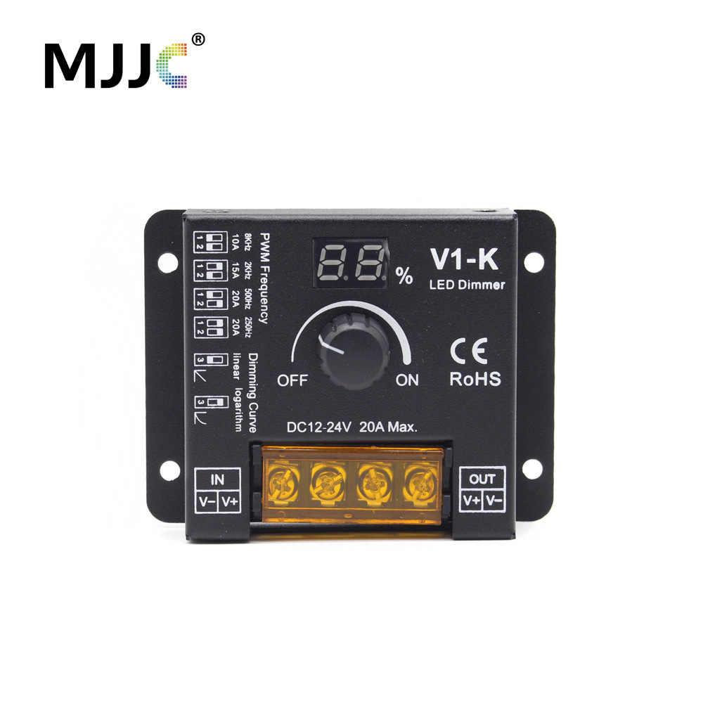 Вращающийся светодиодный диммер постоянного тока 12 V 24V PWM Беспроводной с регулируемой частотой 20A один Цвет Светодиодные ленты Ручка регулятора 12 вольт диммер