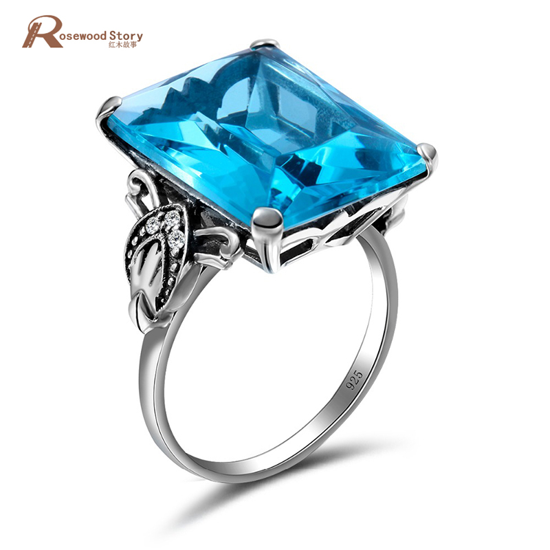 Fashion Antique Jewelry Big Stone Rings 100% 925 Sterling Silver Moonlight Blue CZ Genuine Austrian Crystals Ring Vintage Style