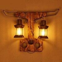 Американский характер магазин одежды диффузный Кафе проход Массив дерева арт двойной головкой настенный светильник Лофт ретро ностальгия
