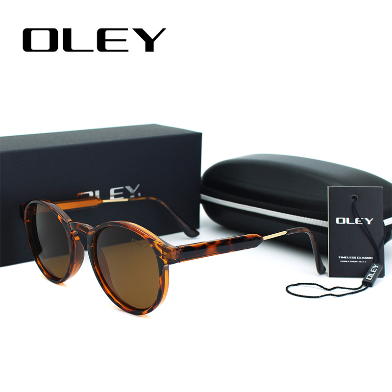 OLEY Merek Designer Putaran Sunglasses Wanita Poin Pria Vintage Lingkaran Hitam Kacamata Anti UVA Kacamata Matahari Oculos de sol