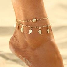 Bohemian Gold/silve Stone Anklets Set For Women Vintage Handmade Multilayer Wave Anklet Bracelet On Leg Beach Ocean Jewelry 2019