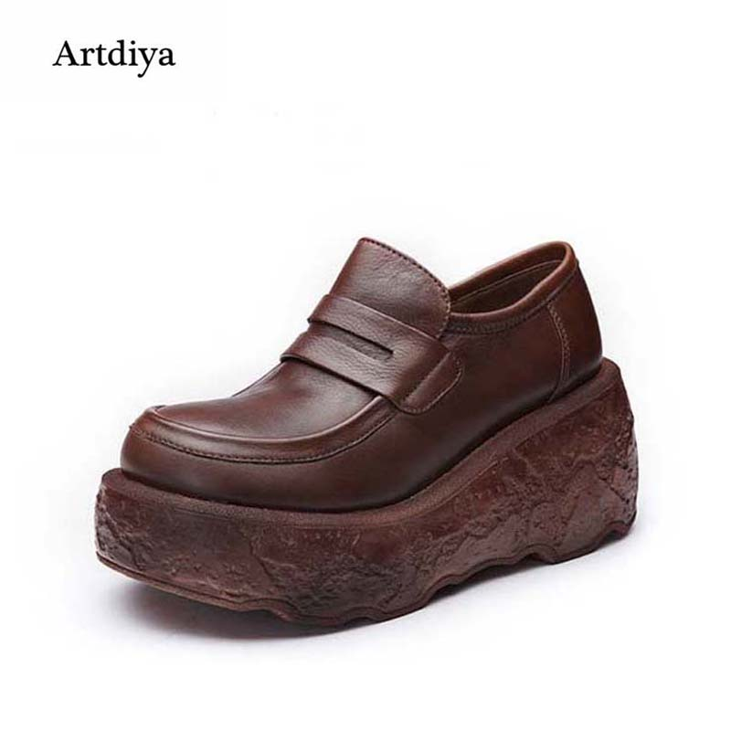 Artdiya Spring and Autumn Thick-soled High Heels Women Shoes Soft Leather Leisure Platform Comfortable Handmade Shoes A10-1 dreambox 2017 autumn and winter trends in europe and america woven leather breathable shoes in thick soled sports shoes men