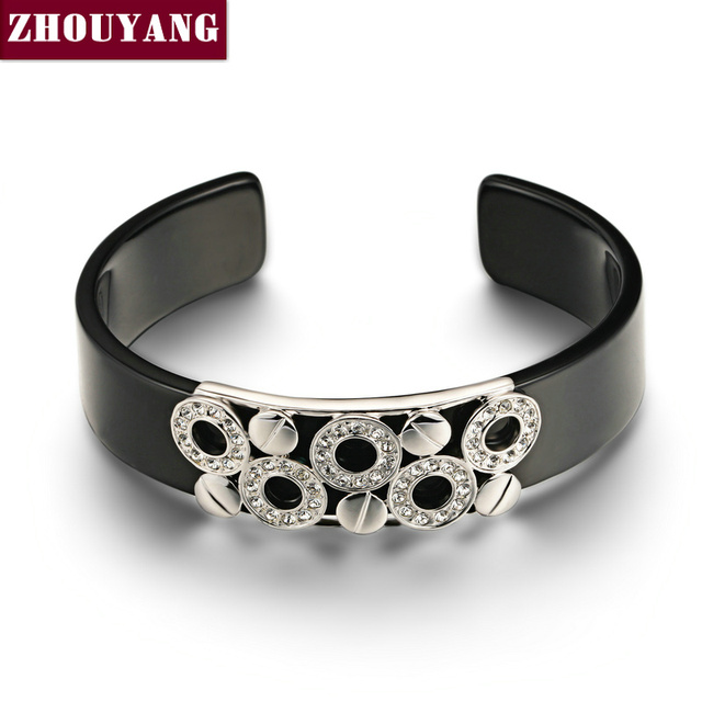 Mens Bracelets 2018 Black Lovely Round Silver Color Bangle Jewelry Made with Genuine Austrian Crystals ZYB018 ZYB017