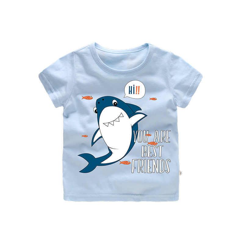 ニューキッズ Tシャツ半袖ボーイズ Tシャツ夏の綿の漫画サメトップス Tシャツ Tシャツ子供のための服子供