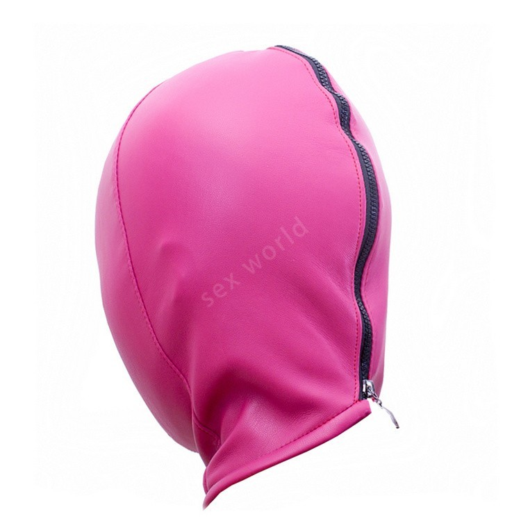 Soft Elastic PU Leather Hood Full Covered Mask Breathable Holes pink
