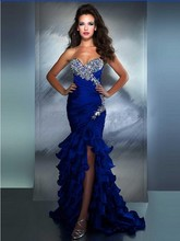 Royal blue mermaid abendkleid 2016 luxus kristall kleid sexy liebsten hals satin lange kleid vestidos de festa longo