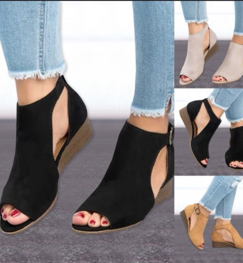 Sandals Gladiator Shoes Buckles Wedge Mid-Heeled Fish-Mouth Fashion 35-43