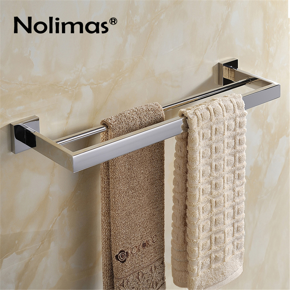 SUS 304 Stainless Steel Double Towel Bar Square Square Towel Rack In The Bathroom Mirror Polished Wall Mounted Towel Holder