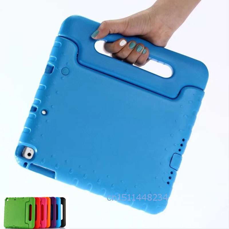 For New iPad 9.7 2017 / Air / Air 2 cover, Kids EVA Silicone Safe Shockproof Case, Handle Stand shell for ipad 5 6 / A1822 A1823