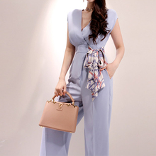 Elegant Belted Waist Business Jumpsuits Women 2019 New  Wide Leg Long