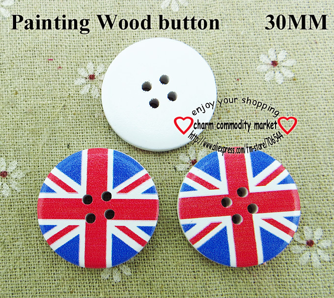 20pcs flat design painting wooden buttons 30MM boots accessory MCB-918-1