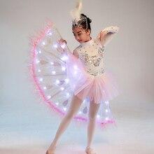 Детская Одежда для танцев с павлином стиль маленький светящийся светодиодный Белый Ling Xiao Dai костюмы студентов