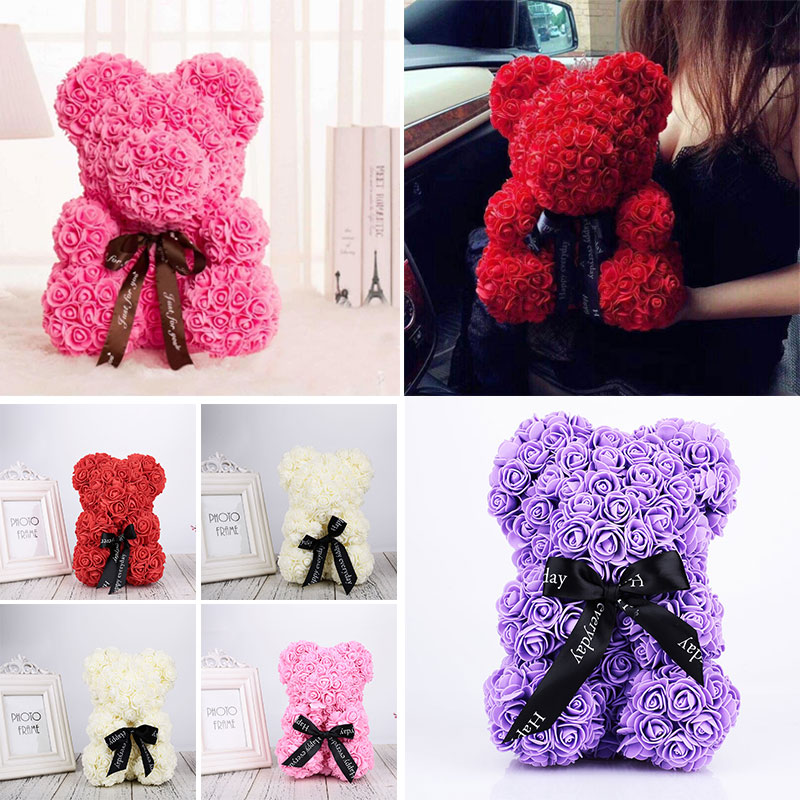 Romantic Pe Handmade Love Bear Doll Toy 2019 Wedding Party Valentines Day Rose Flowers Gift Toy Father To Mother Love Art Gifts Buy One Give One Craft Toys