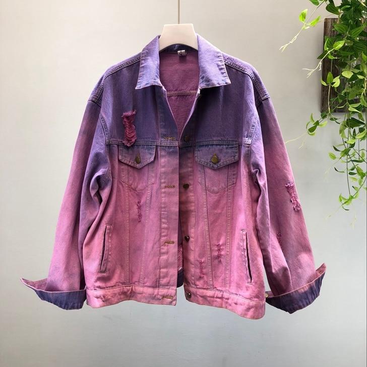 2019 automne femmes nouveau lâche graffiti couleur lavé denim veste femme à manches longues jean manteau 1985