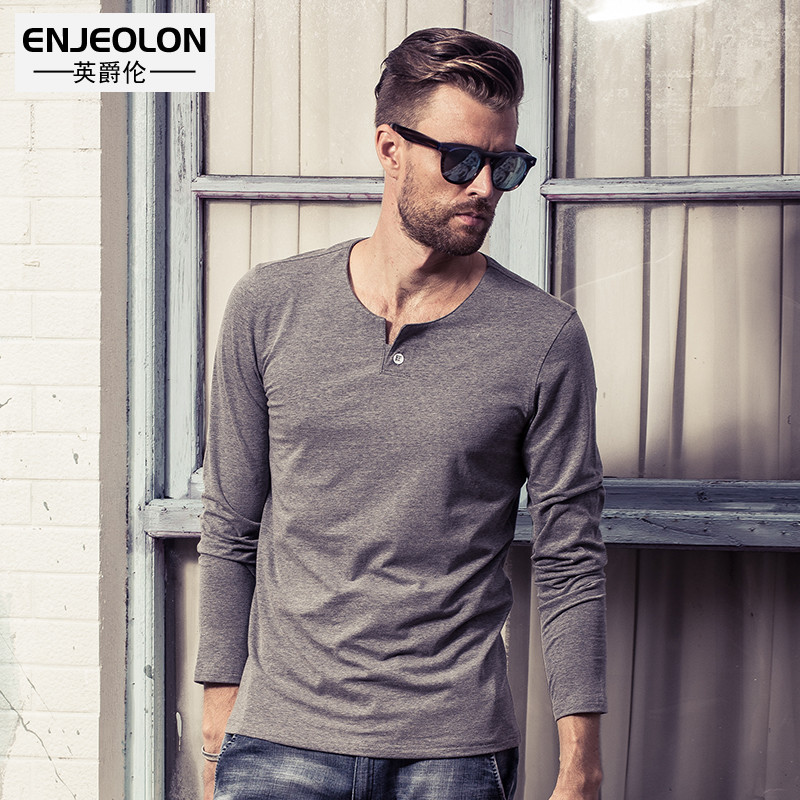 Enjeolon Brand Me t shirts Clothing Long Sleeve clothes, v-collar solid black T-Shirts Slim Tops Tee S-4XL free ship RST1531-1 ...