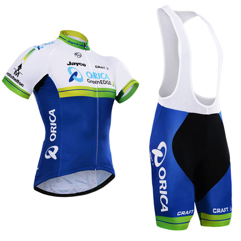 где купить 2016 NEW Men Orica Cycling Sets  Team Jersey Bib Shorts Pro Fit Wear Cycling Bike Granada Sets Cycling Clothing 3D gel pants по лучшей цене
