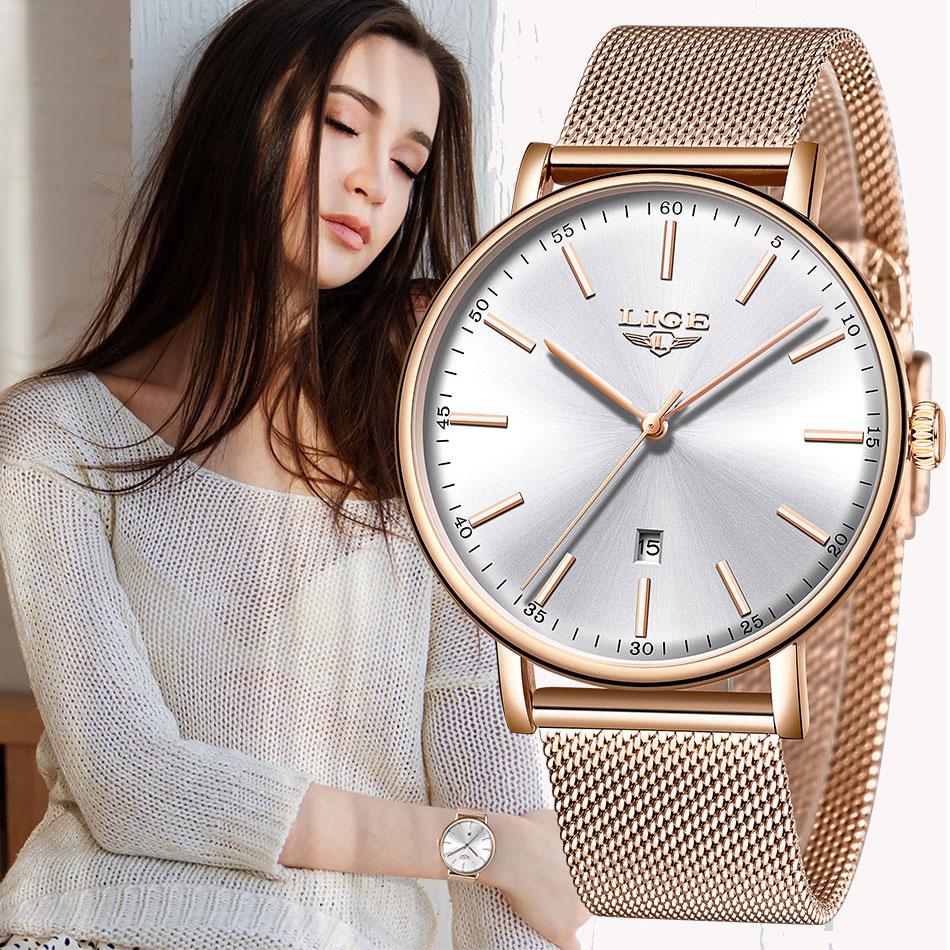 LIGE Womens Watches Top Brand Luxury Waterproof Watch Fashion Ladies Stainless Steel Ultra-Thin Casual Wristwatch Quartz Clock