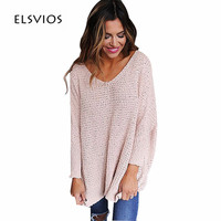 ELSVIOS 6 Colors Autumn Knitted Sweaters Women V Neck Batwing Long Sleeve Warm Tops Sweater Casual