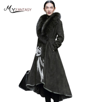 M.Y.FANSTY 2019 Winter Women's Print Flower Mongolia Sheep Real Fur Coat Double Faced Fur Fox Fur Collar Sashes Long Fur Coats