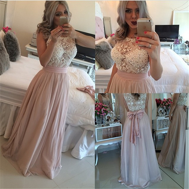 Vestido De Fiesta 2015 Pastel Dirty Pink Halter Tulle Long Evening Party Dress With Beaded Sash