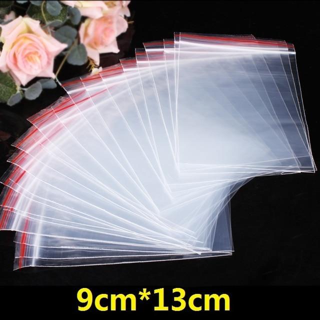 100 unidades/pacote 9x13 cm Jóias Ziplock Zip Com Fecho de Bloqueio Reclosable Plastic Bags Poly Limpar