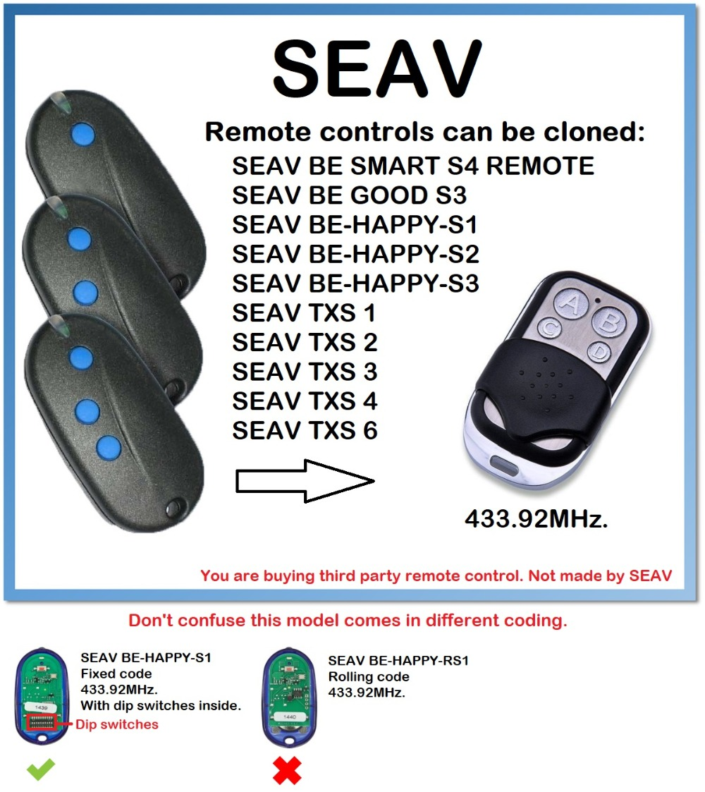 SEAV BE-HAPPY-S1, S2, S3 Remote Control Duplicator 4-Channel 433.92MHz.(only For 433.92mhz Fixed Code)