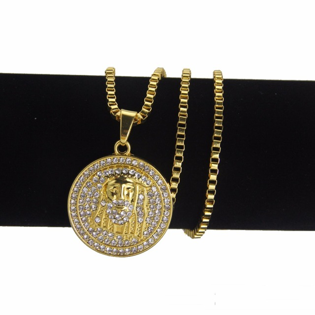 Gold platted bling round jesus pendants hip hop long chain necklace gold platted bling round jesus pendants hip hop long chain necklace aloadofball Gallery