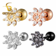 G23titan Crystal Daith Earrings Surgical Steel Ear Piercing Jewelry 16G 6mm Stud Labret Body Accessories