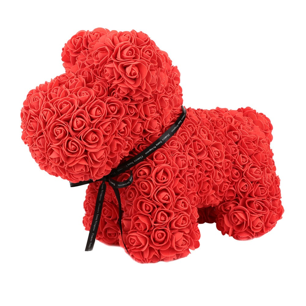 Rose Dog Dolls Cute PE Artificial Rose Flower Romantic Birthday Valentine Gift for Women Wife Girlfriend DIY Gift 2019 Gift