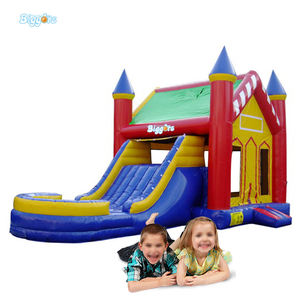 Outdoor commercial inflatable bounce house slide combo bouncy castle jumping castle with pool