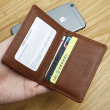 LANSPACE men's leather coin purses holders brand wallet card holder thin card id holders