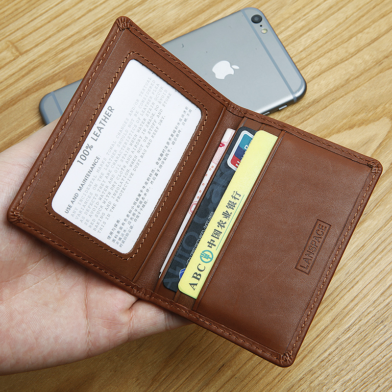 LANSPACE men's leather coin purses holders brand wallet card holder thin card id holders never leather badge holder business card holder neck lanyards for id cards waterproof antimagnetic card sets school supplies