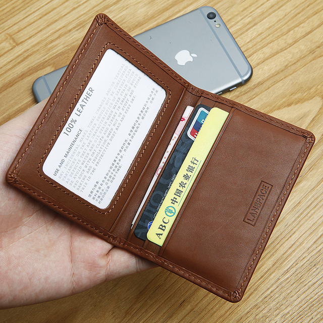 online store f61db 4bcf2 US $13.5 |LANSPACE men's leather coin purses holders brand wallet card  holder thin card id holders-in Wallets from Luggage & Bags on  Aliexpress.com | ...