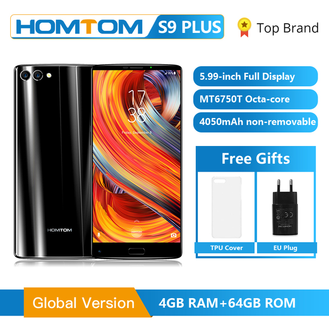 "HOMTOM S9 Plus 18:9 HD+ 5.99"" Tri bezelless Full Display Cell phone MTK6750T Octa Core 4G RAM 64G ROM Dual Back Cam Smartphone"