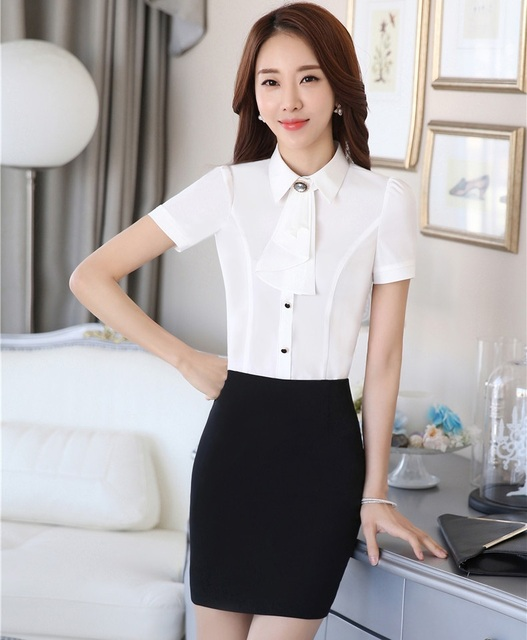 4303359ff8e0 New Fashion Uniform Styles Business Women Work Suits Tops And Skirt Summer  Ladies Blouse Shirts With Skirt Clothing Sets