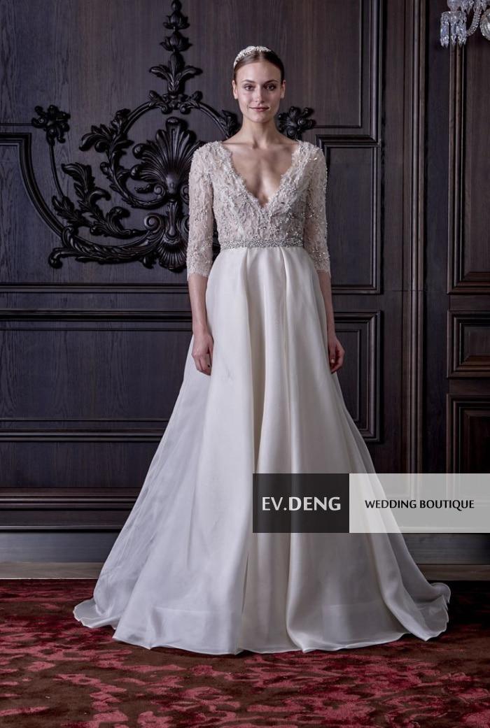 new sexy backless crystal organza Elegant Lace wedding dress sleeves kurti hot sale vestidos de novia 2017 Bridal Gown bride in Wedding Dresses from Weddings Events