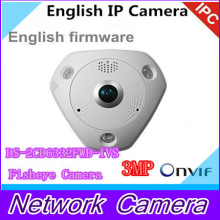 English DS-2CD6332FWD-IVS 3MP Full HD 1080P PoE WDR Panorama 360 Degree Fisheye e-PTZ Dome Network IP Camera Micro SD Memory