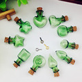 100pieces 20mm cute green color mixed shape Wish Mini glass Bottle with cork Perfume essential oil bottle pendant findings