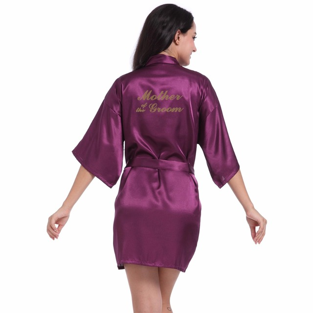 Purple Mother of the Groom Letter Golden Kimono Robes Faux Silk Women  Bachelorette Wedding Preparewear Bridal Party Robes 0eb2b466a
