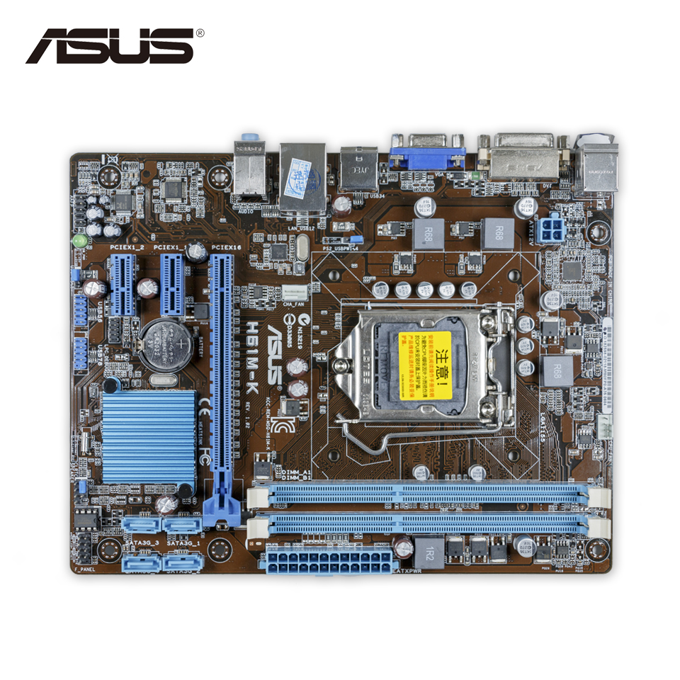 Asus H61M-K Original Used Desktop Motherboard H61 Socket LGA 1155 i3 i5 i7 DDR3 16G ATX On Sale original motherboard 664040 001 685772 001 ipmmb fm chipset z75 socket 1155 ddr3 usb3 0 work perfect