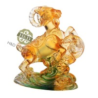 H D Feng Shui Liuli 12 Chinese Zodiac Animal Figurine Paperweight Table Decoration Christmas Gift Sheep