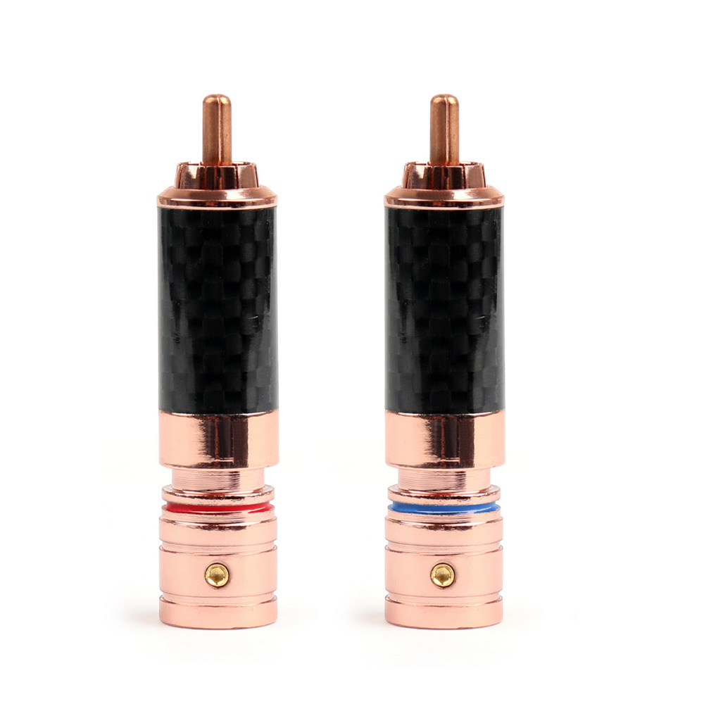 Areyourshop RCA Plug Connector Copper Carbon fiber RCA Plug Jack Gold Plated Audio Connector 1Pairs free shipping one pair sonar quest carbon fiber series eu gold plated power plug connector