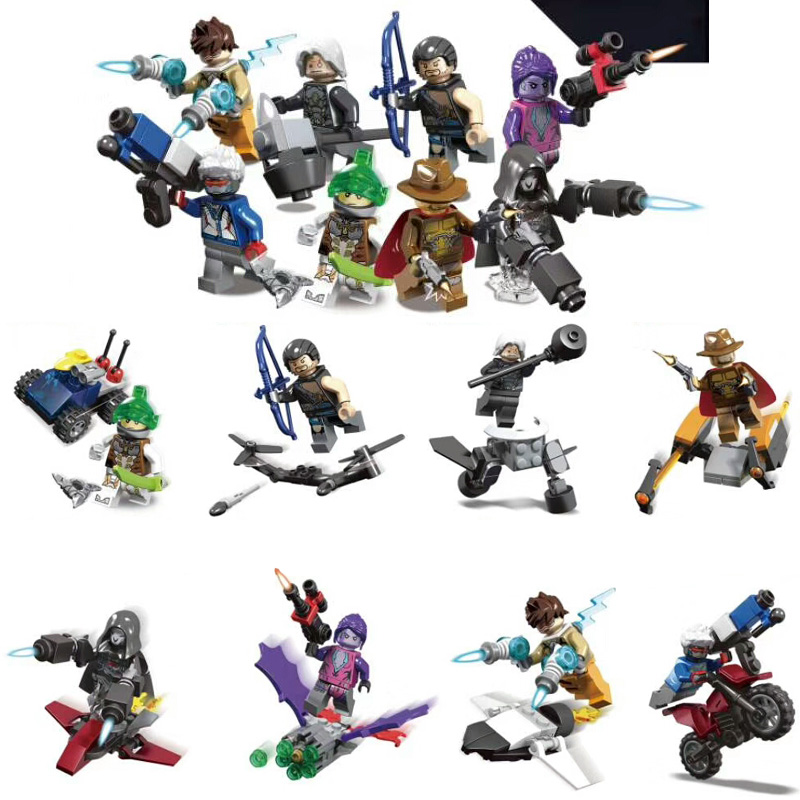 8pcs OverwatchINGlys Building Blocks Set Toy Compatible Overwatching Figure D Va Reinhardt SY1243 Toys For Children in Blocks from Toys Hobbies