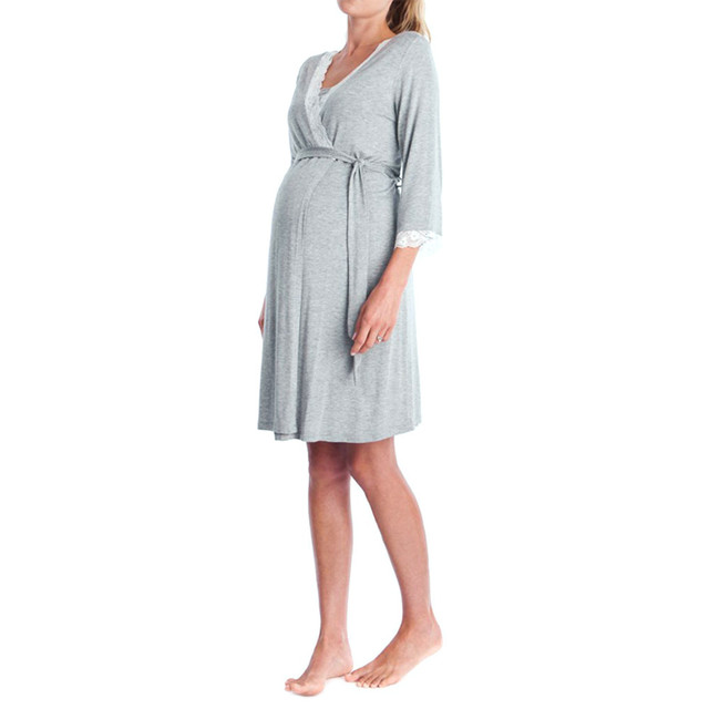 Solid Gray Lace LONSANT Maternity Dress 4