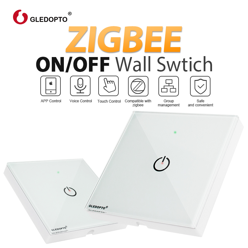 ZIGBEE Wall Switch AC100-240V Control Small Power Electronic Devices APP And Voice Control Work With Echo Plus Zigbee Gateways