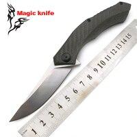 Magic ZT 0460 CF ball bearing Folding Knife D2 carbon fibe Carbon Fiber Camping Hunting Survival Kitchen Knives Outdoor EDC Tool