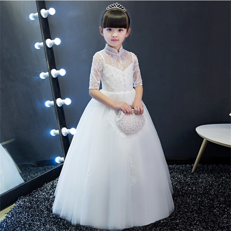 princesa comunhão festa pageant vestido com meia