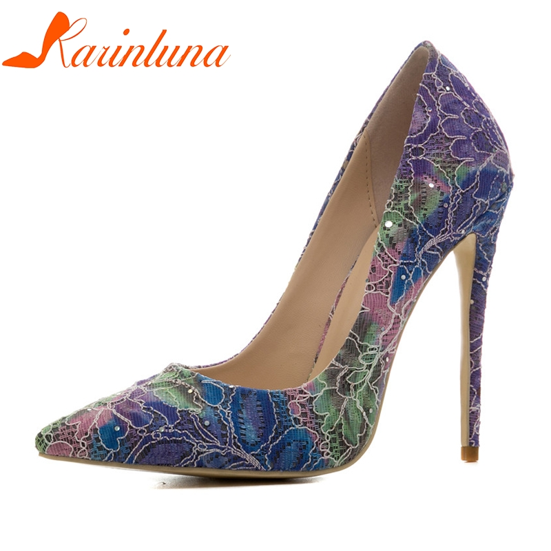 KARINLUNA New womens Sequined Cloth Thin High Heels slip-on Pointed Toe Shoes Woman Casual Party Pumps Plus Size 33-45