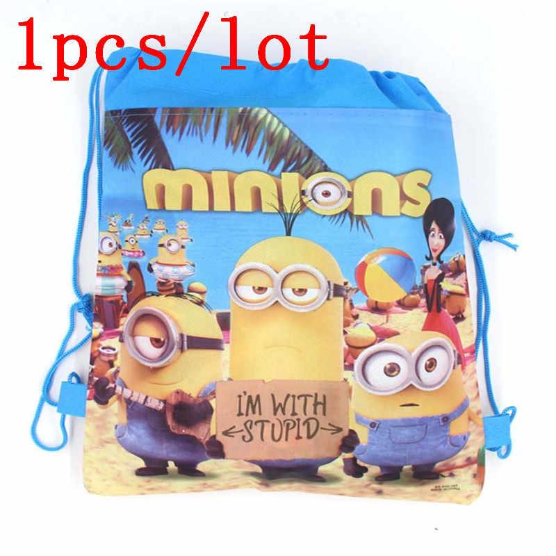 Minions 1Pcs Rugzak Gift Bag Niet-geweven Kid Tassen Leuke Cartoon Casual Style Back Packs Storage Back pack Gunst School