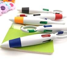 4 في 1 ملون قلم جيب متعددة اللون المفاتيح الكرة القلم القرطاسية المدرسية لطيف مشبك الكتابة القلم الجملة
